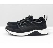 Черные мужские кроссовки, из натуральной кожи и облегченной дышащей спортивной ткани, на черно-белой подошве, Т-М7-05