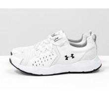 Белые мужские кроссовки, в стиле Under Armour, из натуральной кожи с перфорированными вставками и облегченной дышащей спортивной ткани-сетка внутри, Т-М8-03