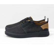 Черные мужские летние туфли на шнуровке, с мягкой пяткой, из натуральной матовой кожи с перфорацией и рыжим подкладом, на черной подошве Т-М9-02