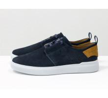 Синие мужские летние туфли на шнуровке, с мягкой пяткой, из нубука с перфорацией и рыжим подкладом, на белой подошве, Т-М9-04