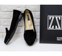 Эксклюзивные туфли из натуральной итальянской замши, тончайшей выделки, насыщенного черного цвета на черной подошве с металлическими вставками, Эксклюзивная Коллекция 2017 от Снежаны Задорожней, любимой Холостячки Украины
