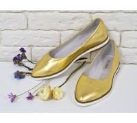 Балетки из натуральной кожи цвет золото коллекция лето-весна, Т-413