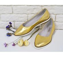 Распродажа! Балетки из натуральной кожи цвет золото коллекция лето-весна , Т-413-04 акция