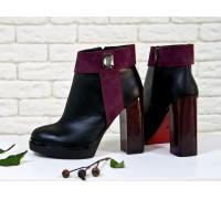 Ботинки на высоком каблуке из натуральной кожи и замши в комбинации из черного и бордового цвета, Коллекция Весна-Лето 2017,  Б-1662